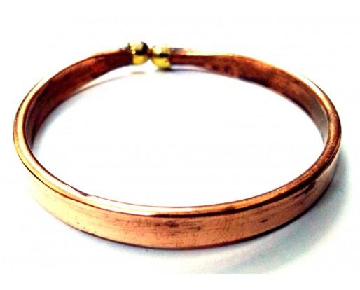 Flat Copper Adjustable Bracelet Kada Kadaa Band Cuff Wristlet Wristband Men Women