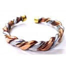 Flat Thick Twisted Copper Bracelet Cuff Kada Kadaa Kara Band Wristlet Wristband Men Women Unisex Healing