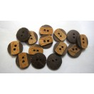 "DASH OF BROWN - 2 Hole COCONUT SHELL Button - Sewing Scrapbook DIY - 13 mm (1/2"") - Size Ligne 20"