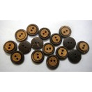"THE CIRCULAR - 2 Hole COCONUT SHELL Button - Sewing Scrapbook DIY - 13 mm (1/2"") - Size Ligne 20"
