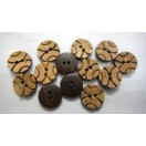 "BASKETBALL - 2 Hole COCONUT SHELL Button - Sewing Scrapbook DIY - 14 mm (9/16th"") - Size Ligne 22"