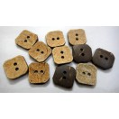 "SQUARED UP - 2 Hole COCONUT SHELL Button - Sewing Scrapbook DIY - 20.5 mm (13/16th"") - Size Ligne 32"