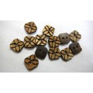 "FLORAL SQUARE - 2 Hole COCONUT SHELL Button - Sewing Scrapbook DIY - 16 mm (5/8th"") - Size Ligne 24"