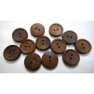 "MR. DARK WOOD - 2 Hole Wood Wooden Button - Sewing Scrapbook DIY - 17.5 mm (11/16th"") - Size Ligne 28"