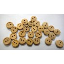 "THE PLAIN JANE - 2 Hole Wood Wooden Button - Sewing Scrapbook DIY - 9.5 mm (3/8th"") - Size Ligne 16"