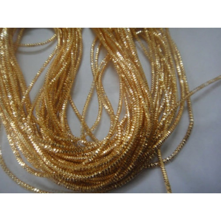 AUTHENTIC FRENCH Vintage Tiny Gold Metal Thread Check Purl Bullion Embroidery