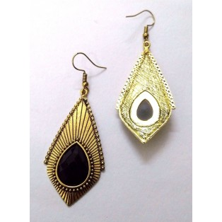 Golden Earring Jhumka Chand Bali Fashion Jewelry Boho Chic Drop Dangle Long EA274