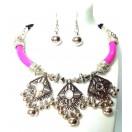 Set of Silver Oxidized Necklace Earrings Jhumka Jhumki Choker Jewelry Tribal Boho Chic A9