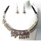 Set of Silver Oxidized Necklace Mala Earrings Jhumka Jhumki Bali Bib Choker Jewelry Tribal Boho Chic A15
