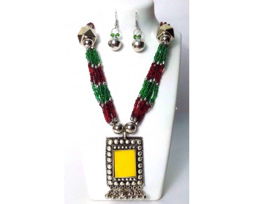 Set of Silver Oxidized Long Necklace Earrings Jhumka Jhumki Bali Indian Wedding Jewelry Chic A18