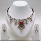 Set of Silver Oxidized Necklace Mala Earrings Jhumka Choker Jewelry Tribal Boho Chic B20