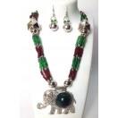 Set of Silver Oxidized Necklace Mala Earrings Jhumka Choker Jewelry Tribal Boho Chic A19