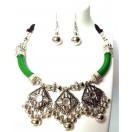 Set of Silver Oxidized Necklace Earrings Jhumka Jhumki Choker Jewelry Tribal Boho Chic A7