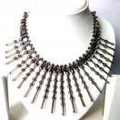 Silver Oxidized Big Pendant Necklace Choker Wedding Jewelry Tribal Chic Gypsy A3