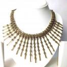 Golden Oxidized Big Pendant Necklace Choker Wedding Jewelry Tribal Chic Gypsy A2