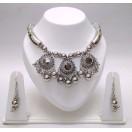 Set of Silver Oxidized Necklace Mala Earrings Jhumka Jhumki Bali Choker Jewelry Tribal Boho Chic B6