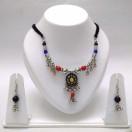 Set of Silver Oxidized Necklace Mala Earrings Jhumka Jhumki Bali Choker Jewelry Tribal Boho Chic B9