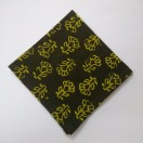 DARK GREEN - BLOCK PRINT Tribal - Pure Cotton Pocket Square Handkerchief Hanky - Men Women Unisex - 12""
