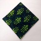 SHADES of GREEN - BLOCK PRINT Tribal - Pure Cotton Pocket Square Handkerchief Hanky - Men Women Unisex - 12""