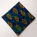 YELLOW on BLUE - BLOCK PRINT Tribal - Pure Cotton Pocket Square Handkerchief Hanky - Men Women Unisex - 12""