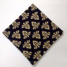 BLACK - BLOCK PRINT Tribal - Pure Cotton Pocket Square Handkerchief Hanky - Men Women Unisex - 12""
