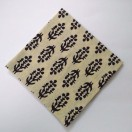 BLACK on CREAM - BLOCK PRINT Tribal - Pure Cotton Pocket Square Handkerchief Hanky - Men Women Unisex - 12""