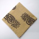 BLACK on BEIGE - BLOCK PRINT Tribal - Pure Cotton Pocket Square Handkerchief Hanky - Men Women Unisex - 12""