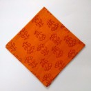 ORANGE - BLOCK PRINT Tribal - Pure Cotton Pocket Square Handkerchief Hanky - Men Women Unisex - 12""