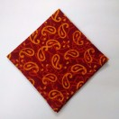 ORANGE on RED - BLOCK PRINT Tribal - Pure Cotton Pocket Square Handkerchief Hanky - Men Women Unisex - 12""