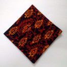 RED on BLACK - BLOCK PRINT Tribal - Pure Cotton Pocket Square Handkerchief Hanky - Men Women Unisex - 12""