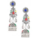 Silver Oxidized Earrings Jhumka Jhumki Bali Imitation Indian Bollywood Ethnic Wedding Jewelry H8
