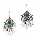 DARK GREEN Silver Oxidized Earrings Jhumka Jhumki Bali Imitation Indian Bollywood Ethnic Wedding Jewelry H32