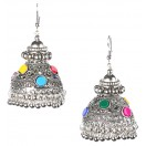 BIG CHANDELIER Silver Oxidized Earrings Jhumka Jhumki Bali Imitation Indian Bollywood Ethnic Wedding Jewelry H33