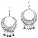 HOOP AFGHANI CHANDBALI Silver Oxidized Earrings Jhumka Jhumki Bali Imitation Indian Bollywood Ethnic Wedding Jewelry H34