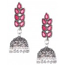 RHINESTONES Silver Oxidized Earrings Jhumka Jhumki Bali Imitation Indian Bollywood Ethnic Wedding Jewelry H38