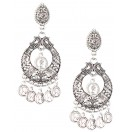 QUEEN ELIZABETH THE SECOND HOOP CHANDBALI Silver Oxidized Earrings Jhumka Jhumki Bali Imitation Indian Bollywood Ethnic Wedding Jewelry H46