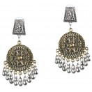 DUAL TONE - Silver & Golden Oxidized Earrings Jhumka Jhumki Bali Imitation Indian Bollywood Ethnic Wedding Jewelry H47