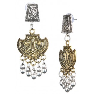 PEACOCK - DUAL TONE - Silver & Golden Oxidized Earrings Jhumka Jhumki Bali Imitation Indian Bollywood Ethnic Wedding Jewelry H48