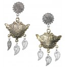 LEAVES - DUAL TONE - Silver & Golden Oxidized Earrings Jhumka Jhumki Bali Imitation Indian Bollywood Ethnic Wedding Jewelry H49