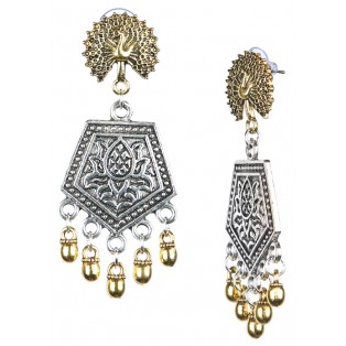 PEACOCK - DUAL TONE - Silver & Golden Oxidized Earrings Jhumka Jhumki Bali Imitation Indian Bollywood Ethnic Wedding Jewelry H50