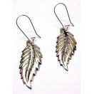 LEAF - Silver Oxidized Earring - Light Hook Dangle Drop Long- Fashion Novelty Gift