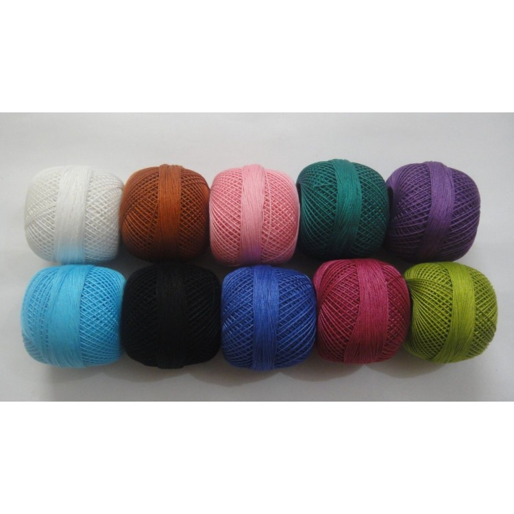 SET LOT of 10 Beautiful Dark Cotton Yarn Thread Crochet Lace Knitting Embroidery